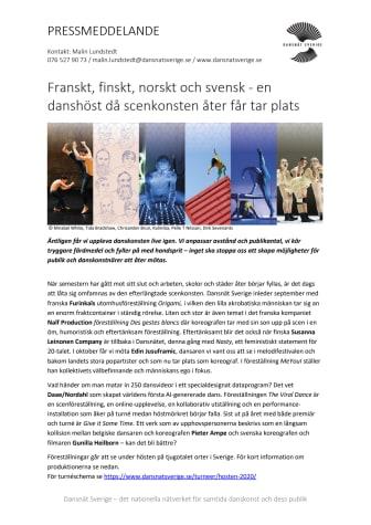 Franskt, finskt, norskt och svensk - en danshöst då scenkonsten åter får tar plats