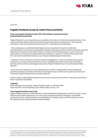 Pappila Penkkala Group Oy osaksi Visma-perhettä