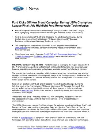 FORD FEJRER CHAMPIONS LEAGUE FINALEN MED NY KAMPAGNE