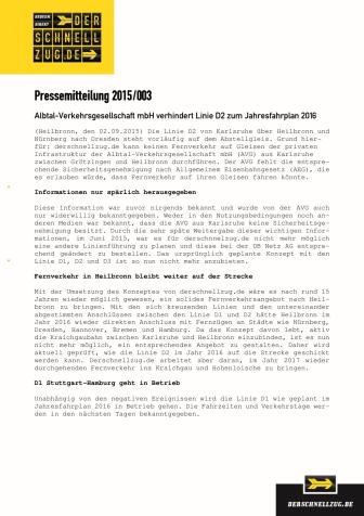 Pressemitteilung 2015/003 - AVG verhindert Linie D2 zum Jahresfahrplan 2016