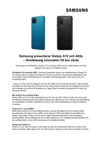 Samsung presenterar Galaxy A12 och A02s – förstklassig innovation till bra värde