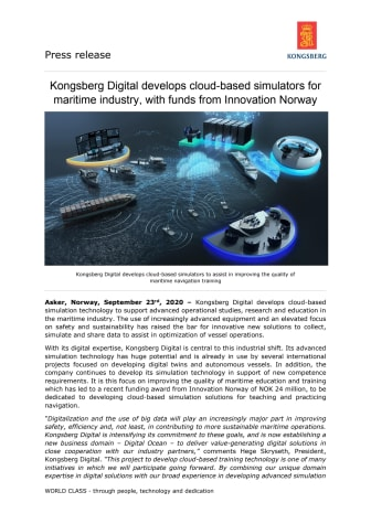 Kongsberg Digital develops cloud-based simulators for maritime industry, with funds from Innovation Norway