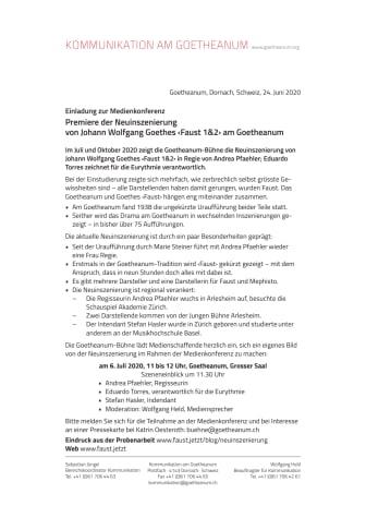 Medienkonferenz: Premiere der Neuinszenierung von Johann Wolfgang Goethes ‹Faust 1&2› am Goetheanum