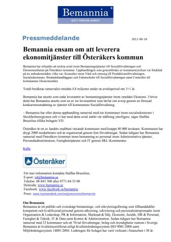 Bemannia ensam om att leverera ekonomitjänster till Österåkers kommun