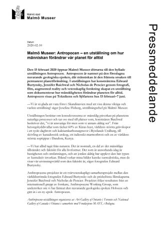 Malmö Museer: Antropocen – en utställning om hur människan förändrar vår planet för alltid