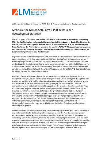 Pressemitteilung ALM e.V. - Mehr als eine Million SARS-CoV-2-PCR-Tests in den deutschen Laboratorien