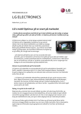 LG's mobil Optimus 3D er snart på markedet