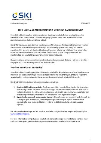 Svenskt Kvalitetsindex mäter hur nöjd man är med sitt fackförbund