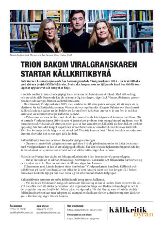 Trion bakom Viralgranskaren startar källkritikbyrå
