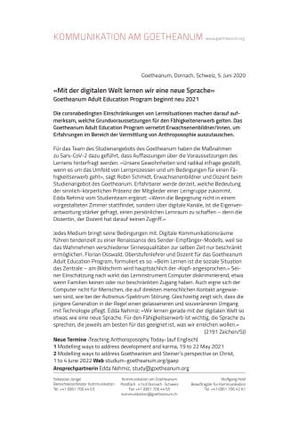 «Mit der digitalen Welt lernen wir eine neue Sprache»: Goetheanum Adult Education Program beginnt neu 2021