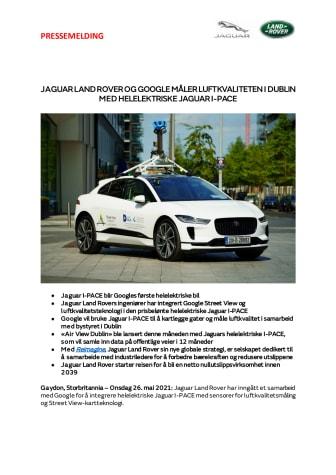 Jaguar Land Rover og Google måler luftkvaliteten i Dublin med helelektrisk Jaguar I-PACE