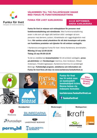 Inbjudan till Funka för livet Karlskrona - mässa/mötesplats om funktionsnedsättning 14-15 september