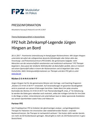 Rückengesundheit in Deutschland: FPZ holt Zehnkampf-Legende Jürgen Hingsen an Bord
