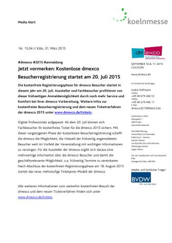Jetzt vormerken: Kostenlose dmexco Besucherregistrierung startet am 20. Juli 2015