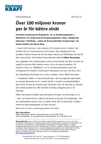 Över 100 miljoner kronor per år för bättre elnät
