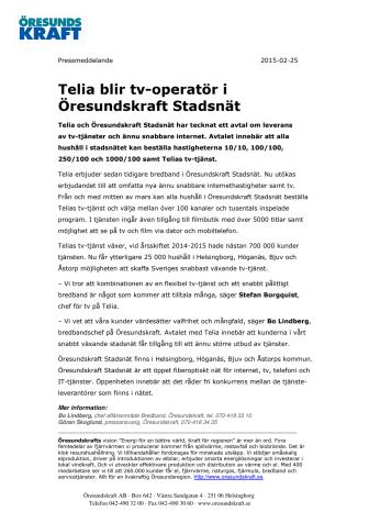 Telia blir tv-operatör i Öresundskraft Stadsnät