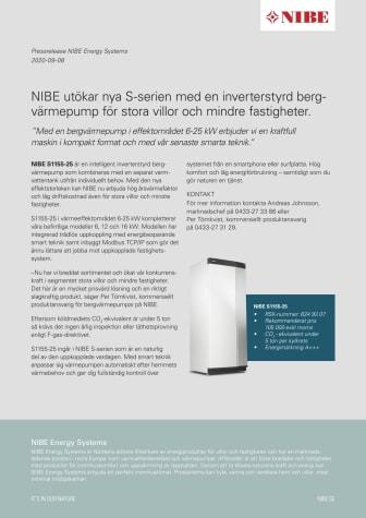 NIBE utökar nya S-serien med en inverterstyrd bergvärmepump för stora villor och mindre fastigheter.