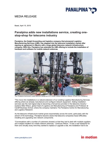 Panalpina adds new installations service, creating one-stop-shop for telecoms industry