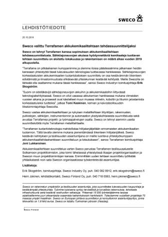 Sweco valittu Terrafamen akkukemikaalitehtaan tehdassuunnittelijaksi