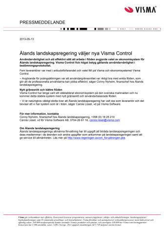 Ålands landskapsregering väljer nya Visma Control