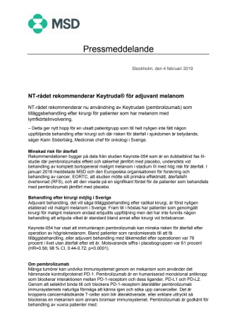 NT-rådet rekommenderar Keytruda® för adjuvant melanom
