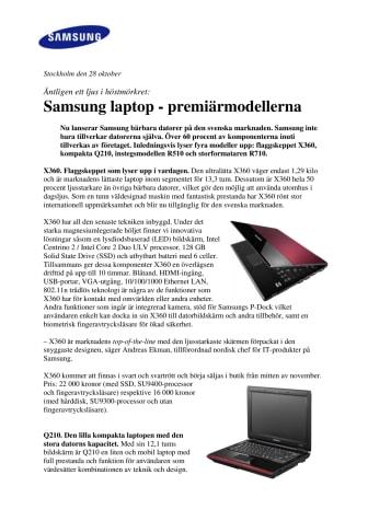 Samsung laptop - premiärmodellerna