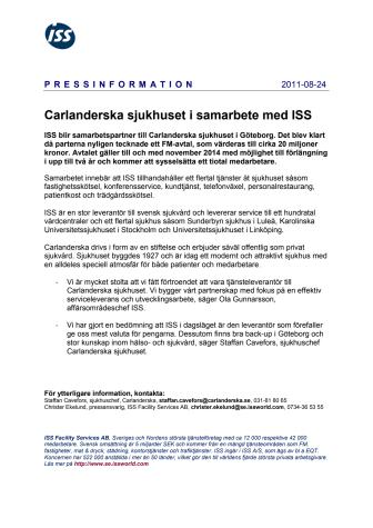 Carlanderska sjukhuset i samarbete med ISS