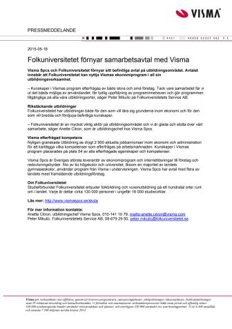 Folkuniversitetet förnyar samarbetsavtal med Visma
