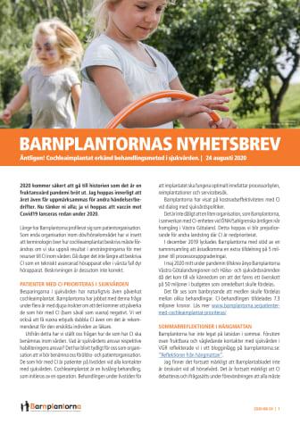 BARNPLANTORNAS NYHETSBREV den 24 augusti 2020 - CI erkänd behandlingsmetod i sjukvården