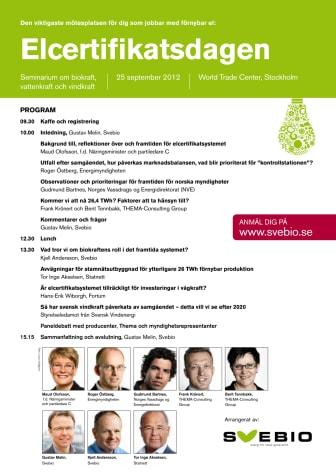 Program Elcertifikatsdagen 25 september 2012