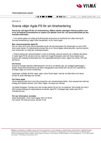 Svevia väljer Agda PS för sin lönehantering