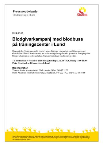 Blodgivarkampanj med blodbuss på träningscenter i Lund