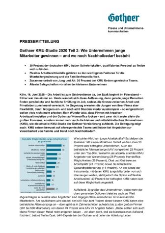 Gothaer KMU-Studie 2020 Teil 2: Wie Unternehmen junge Mitarbeiter gewinnen – und wo noch Nachholbedarf besteht