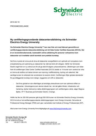 Ny certifieringsgrundande datacenterutbildning via Schneider Electrics Energy University