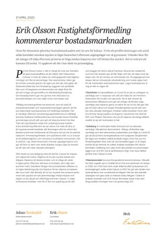 Erik Olsson Fastighetsförmedling kommenterar bostadsmarknaden 17 april 2020