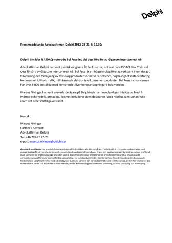 Delphi biträder NASDAQ-noterade Bel Fuse Inc vid dess förvärv av Gigacom Interconnect AB