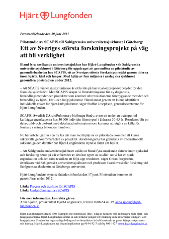 Pilotstudie av SCAPIS till Sahlgrenska universitetssjukhuset i Göteborg: Ett av Sveriges största forskningsprojekt på väg att bli verklighet