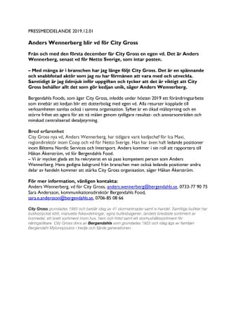 Anders Wennerberg blir vd för City Gross