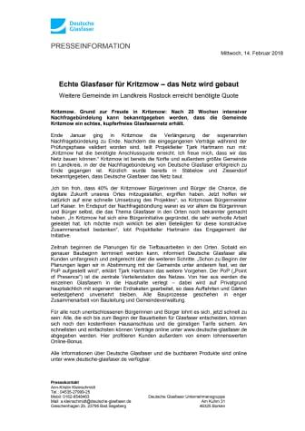 Echte Glasfaser für Kritzmow – das Netz wird gebaut