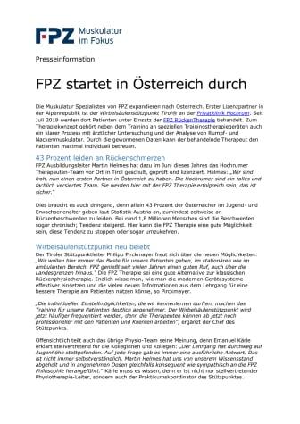 FPZ startet in Österreich durch
