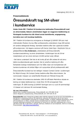 Öresundskraft tog SM-silver i kundservice