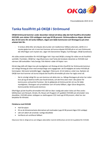 Tanka fossilfritt på OKQ8 i Strömsund