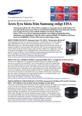 Årets fyra bästa från Samsung enligt EISA