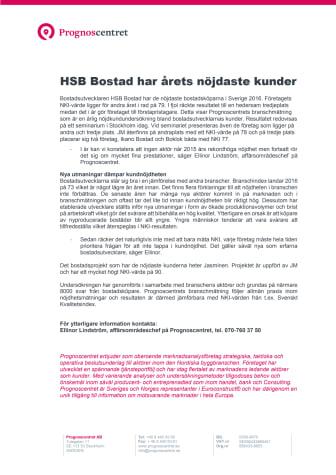 HSB Bostad har nöjdast kunder 2016