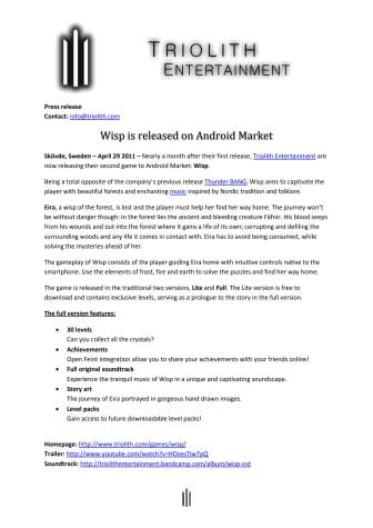 Wisp released on Andorid market