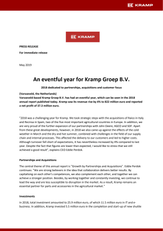 An eventful year for Kramp Groep B.V.