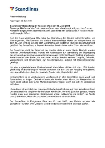 Scandlines' BorderShop in Rostock öffnet am 02. Juni 2020
