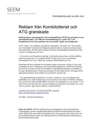 Reklam från Kombilotteriet och ATG granskade