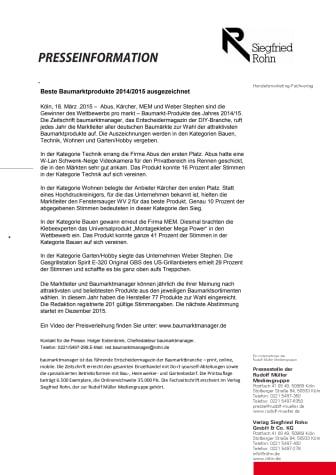 Beste Baumarktprodukte 2014/2015 ausgezeichnet