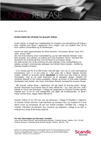 Kristin Dahle blir direktør for Scandic Vulkan